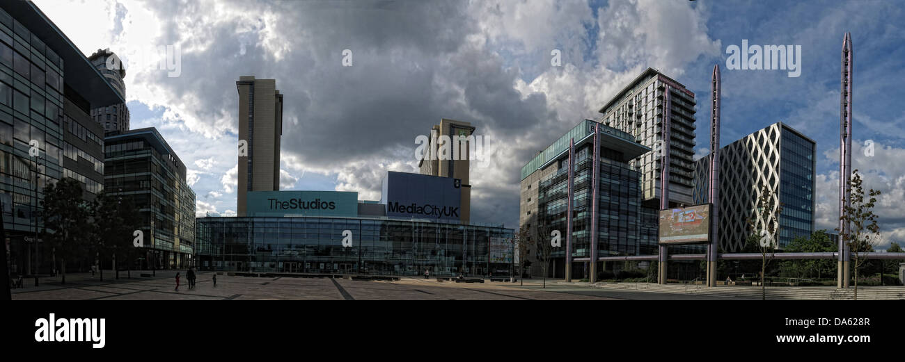 BBC Media City UK Salford Quays Manchester Lancs England wide shot - Stock Image