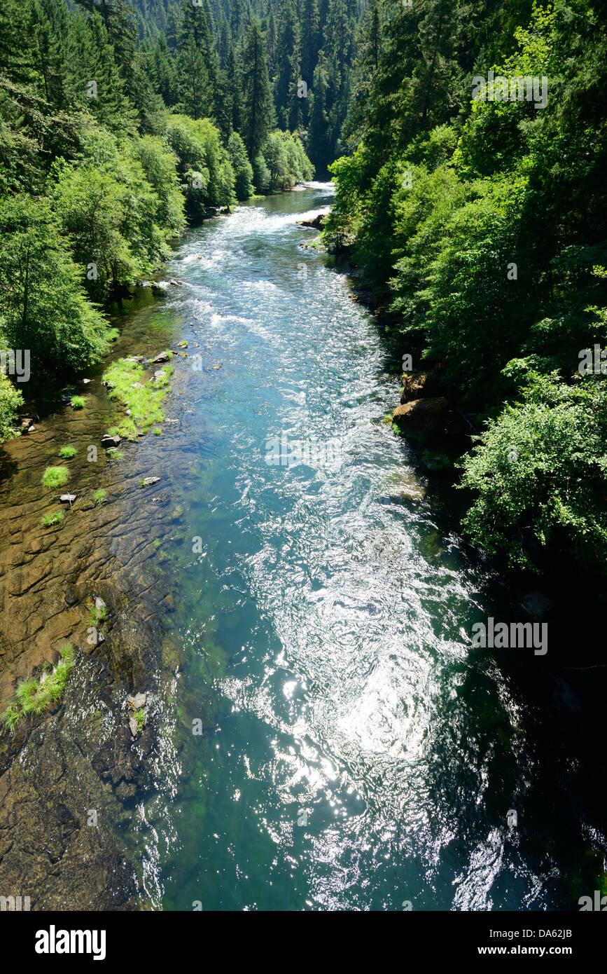 Umpqua River, Mott Bridge, Oregon, Roseburg, Oregon, USA, United States, America, river, forest - Stock Image