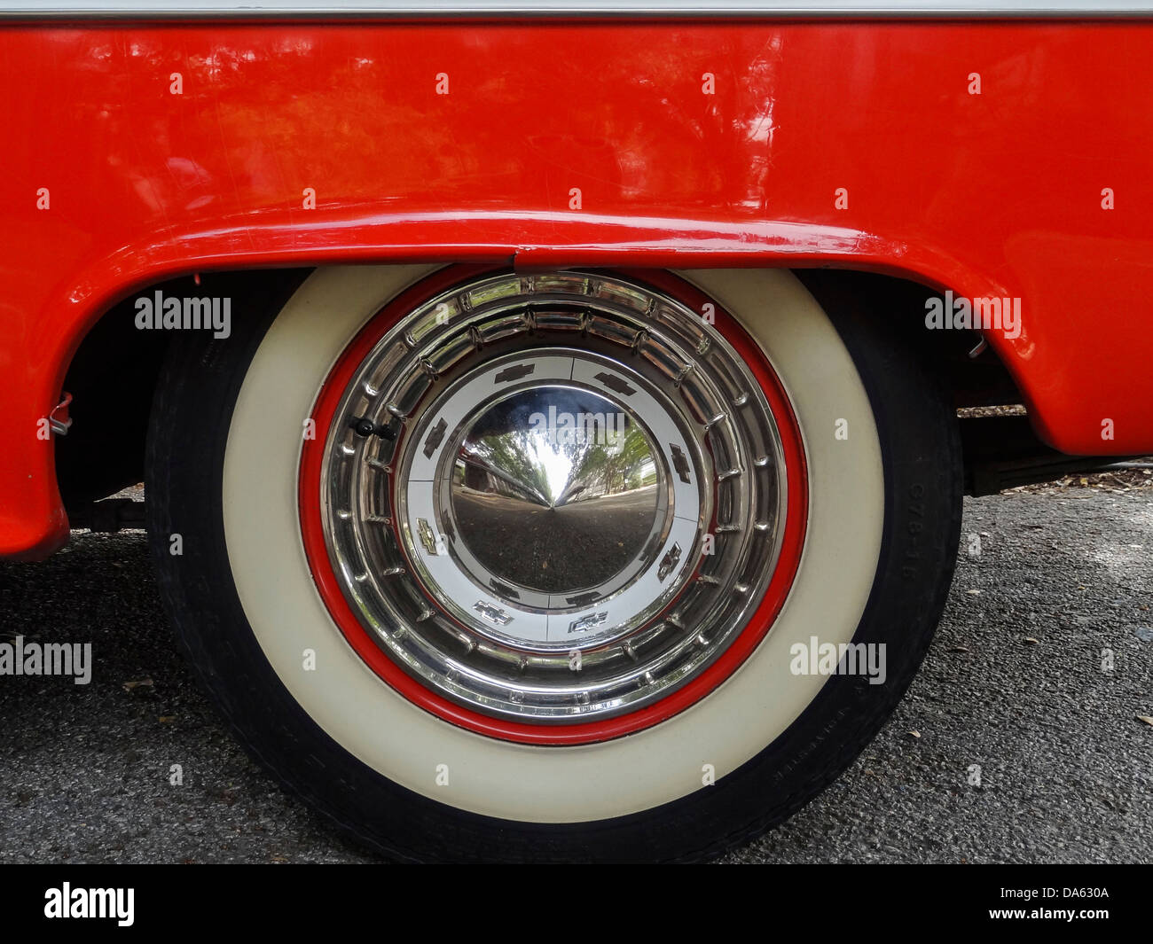 1955, Classic car, Chevrolet, Bel Air, General Motors, New Braunfels, old, car, red, white, Texas, USA, United States, - Stock Image