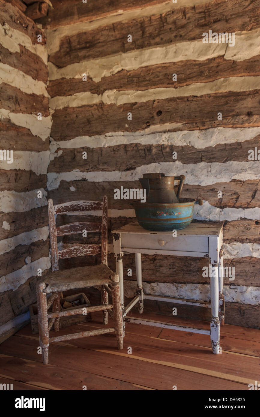 Independence, interior, log cabin, wooden, hut, Seward, Plantation, Texas, USA, United States, America, - Stock Image