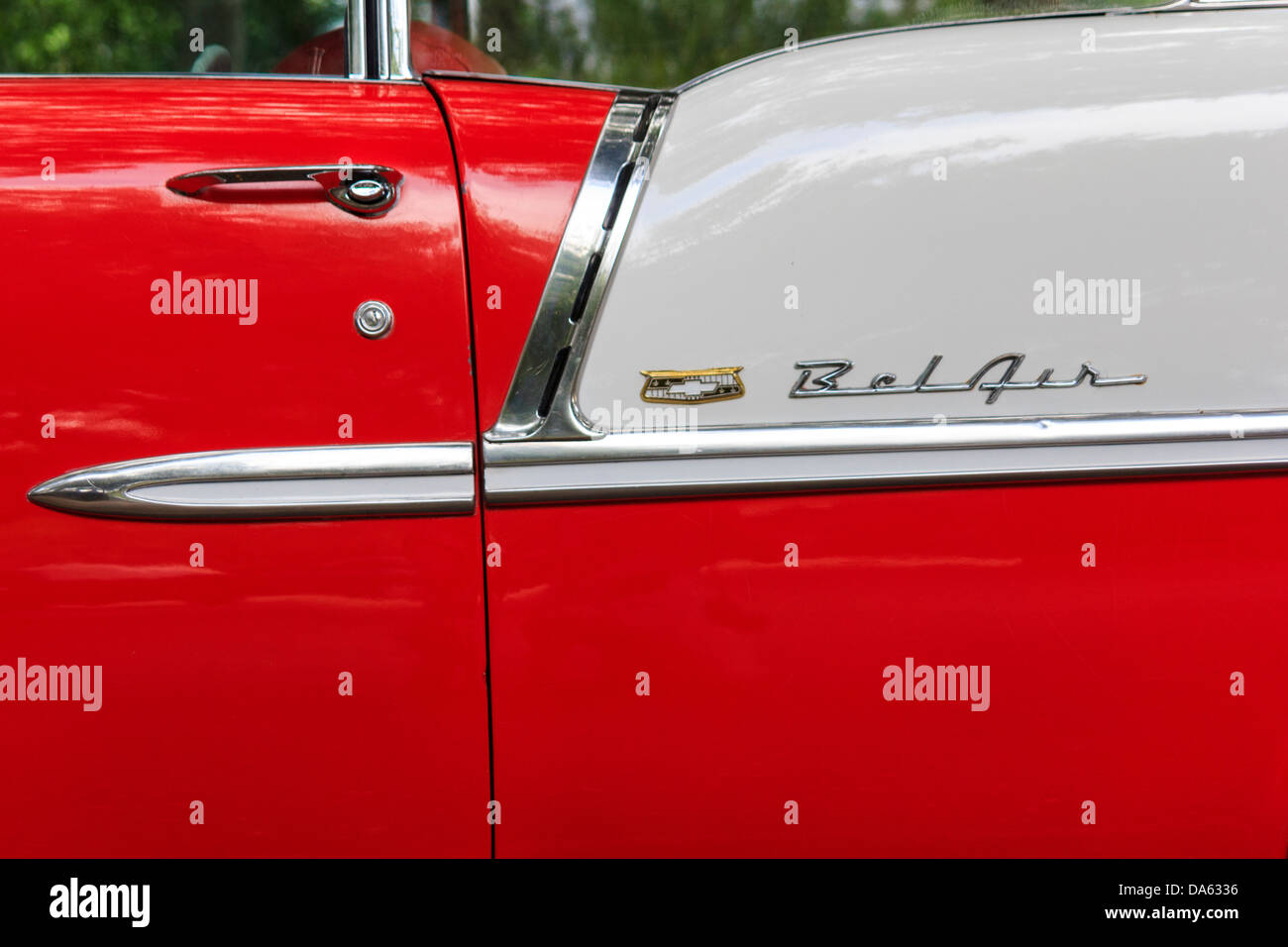 1955, Classic car, Chevrolet, Bel Air, General Motors, New Braunfels, old car, red, white, Texas, USA, United States, - Stock Image