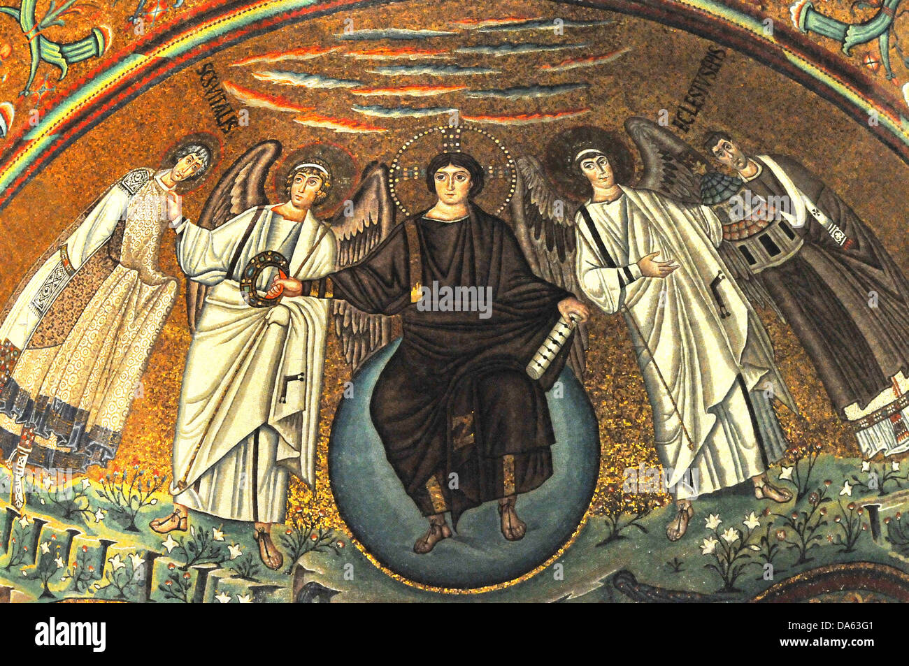 Mosaic Masterpiece on the apse of the UNESCO listed basilica of Sta vitalis, Ravenna, Italy. Showing Christ youthful - Stock Image
