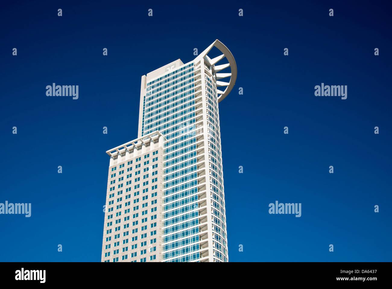 DZ Bank, Tower, Deutsche Zentral-Genossenschaftsbank, head office, Westendtower, Kronenhochhaus, Frankfurt am Main, Stock Photo