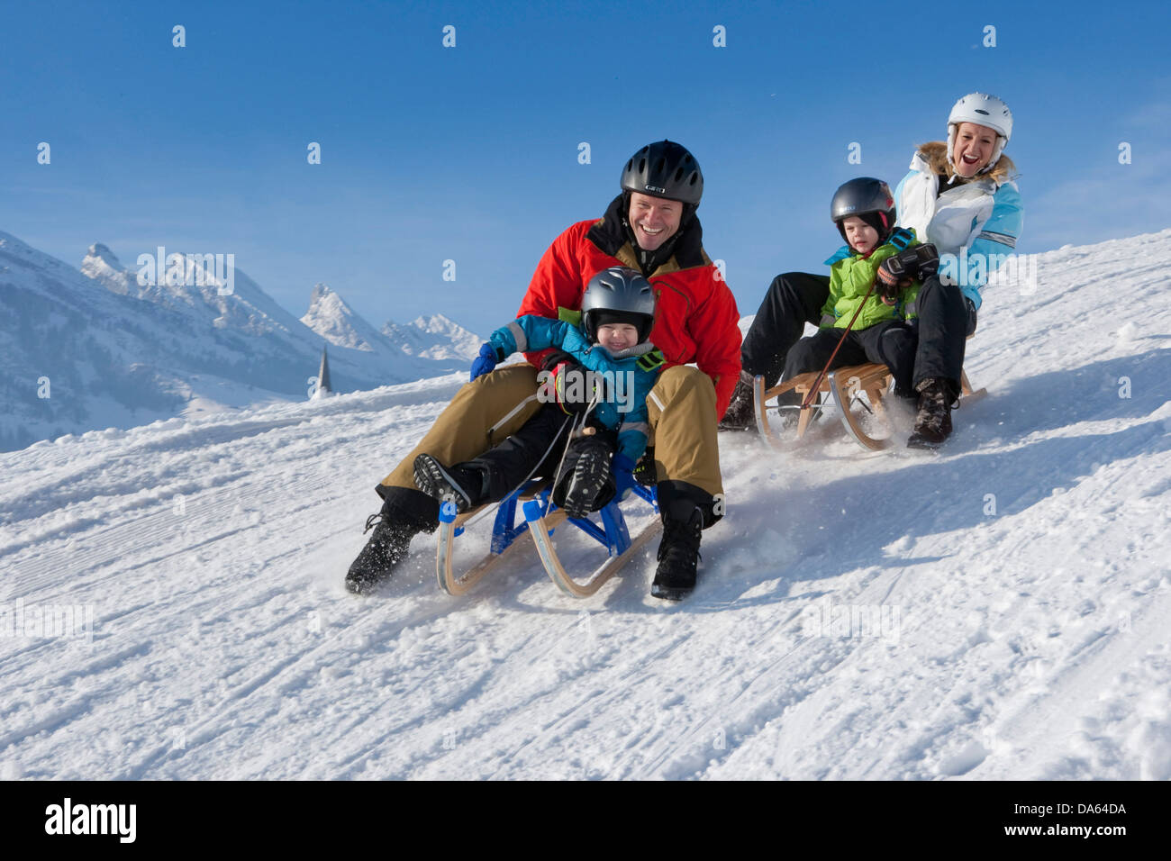 ride, toboggan, sledging, Gamplüt, Wildhaus, Churfirsten, mountain, mountains, family, sledge, sleigh, sport, - Stock Image