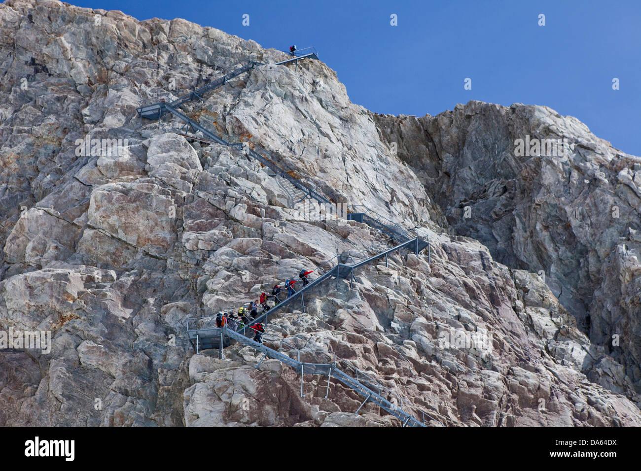 Stair, Konkordiahütte, SAC, place, Konkordia, mountain, mountains, glaciers, ice, moraine, canton, Valais, - Stock Image