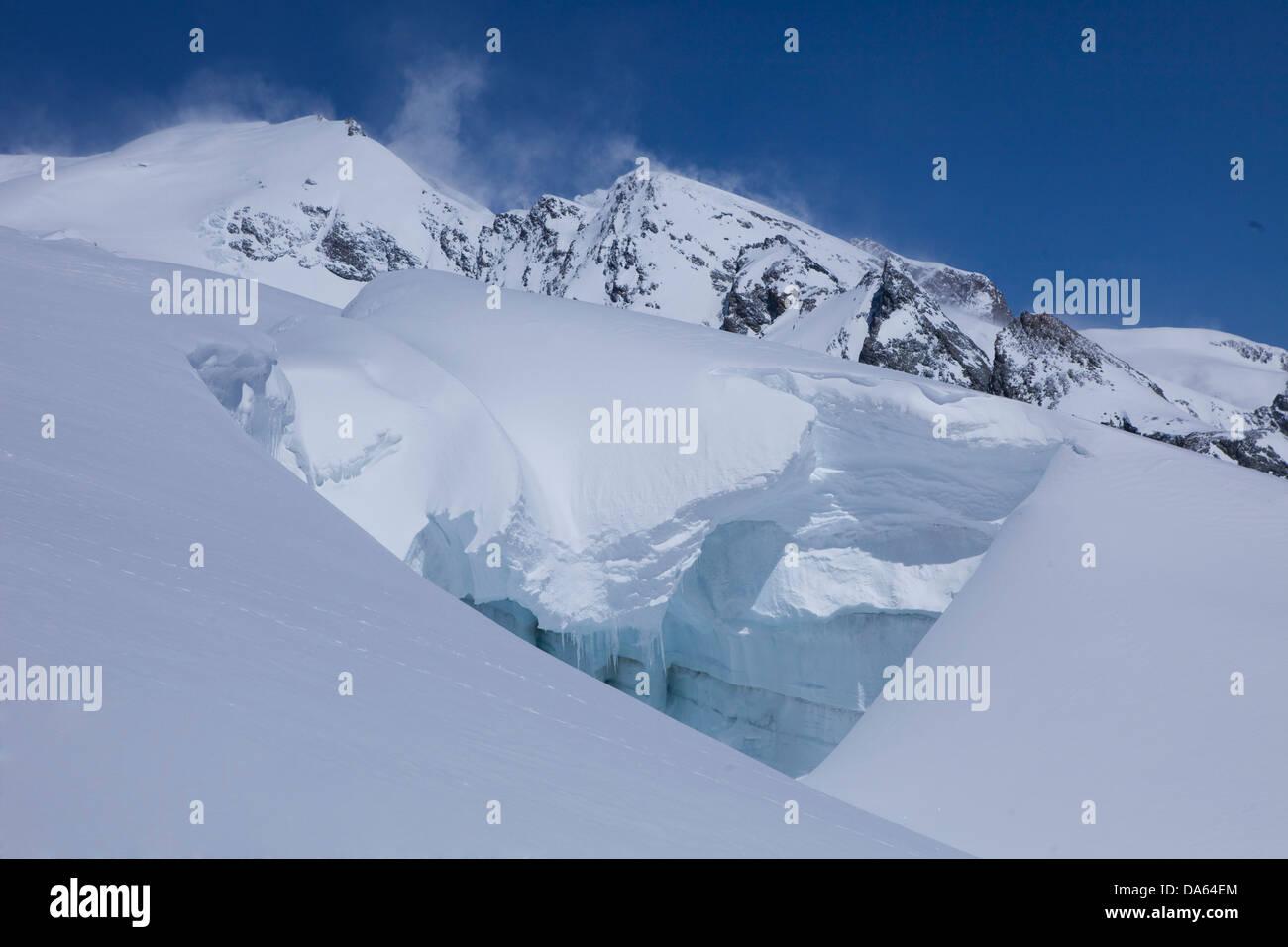 Mountain, mountains, glaciers, ice, moraine, canton, Valais, Aletsch, glacier, winter, scenery, landscape, Switzerland, - Stock Image