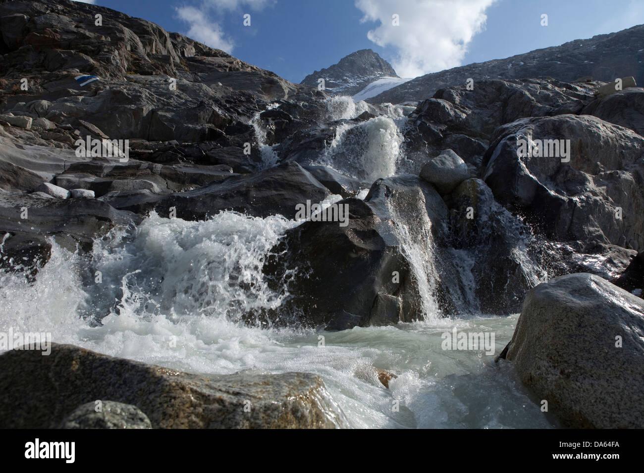 Waterfall, pit glacier, Hienderstock, Urbachtal, mountain, mountains, canton, Bern, Gauli, Gauligebiet, Gauligletscher, - Stock Image
