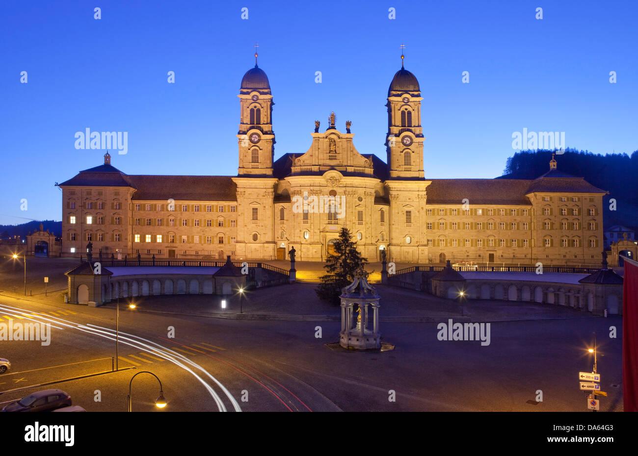 Cloister, Einsiedeln, autumn, canton, SZ, Schwyz, central Switzerland, church, religion, night, dark, Switzerland, - Stock Image