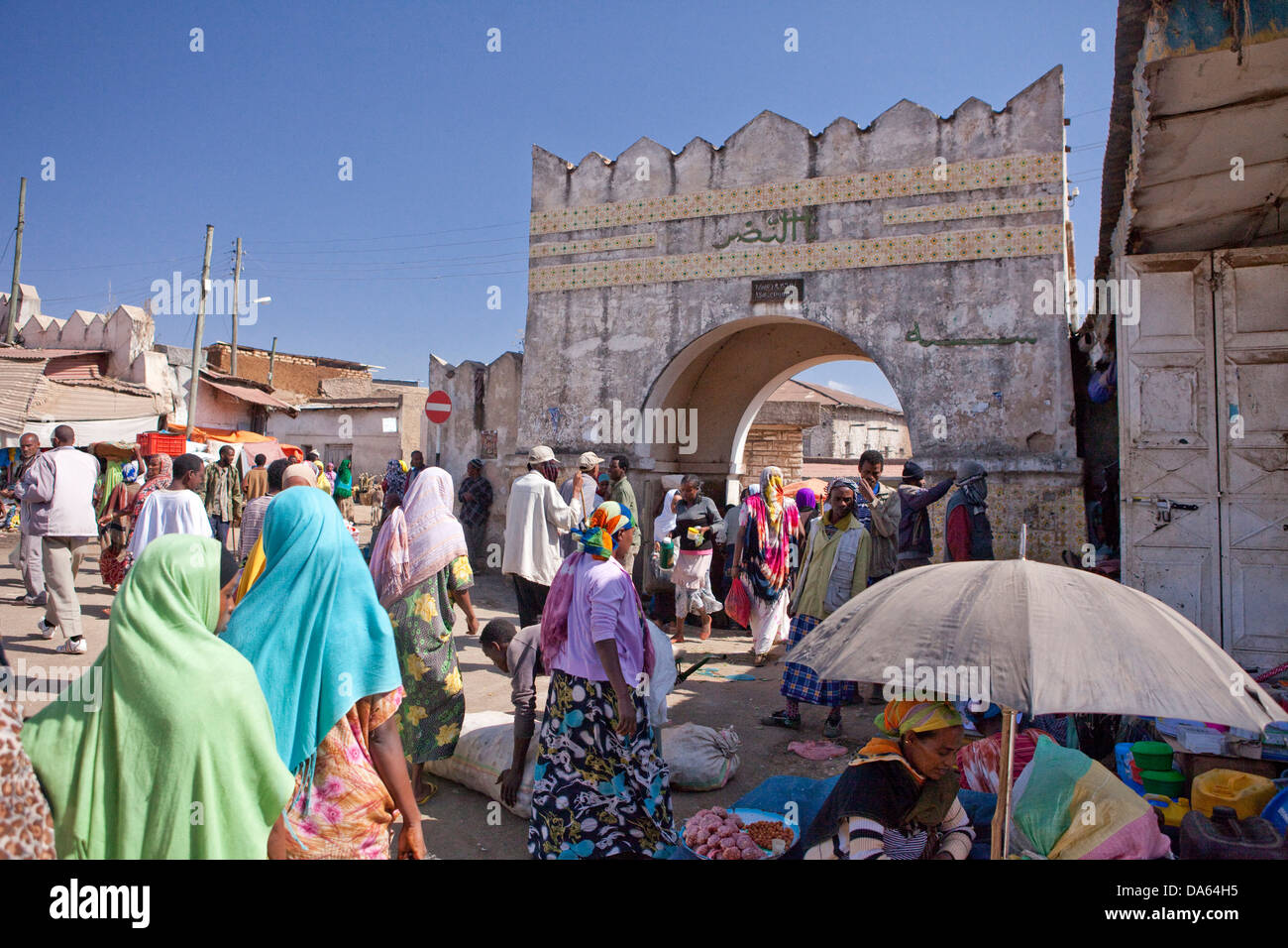 Town gate, Harar, Ethiopia, UNESCO, world cultural heritage, Africa, town, city, gate - Stock Image