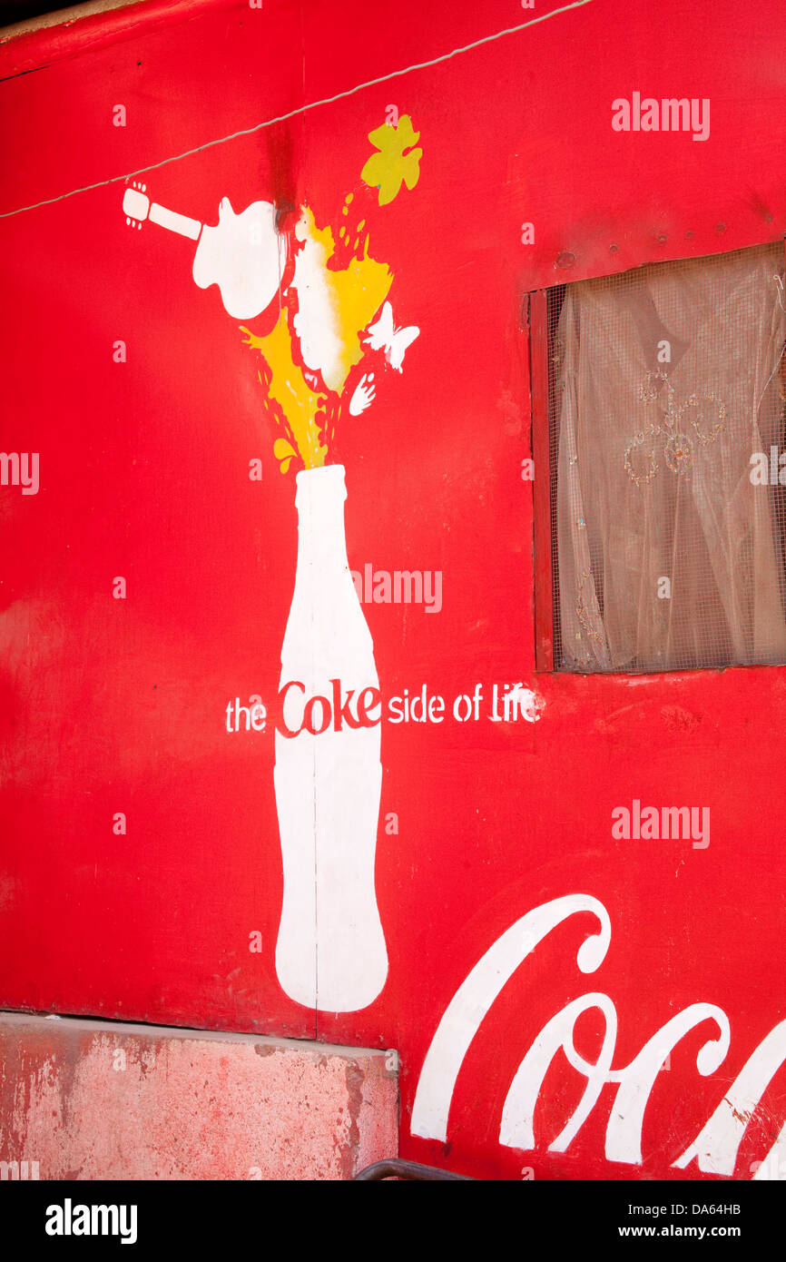 Coca Cola, posters, Africa, drinking, Ethiopia, advertisement, brand, - Stock Image