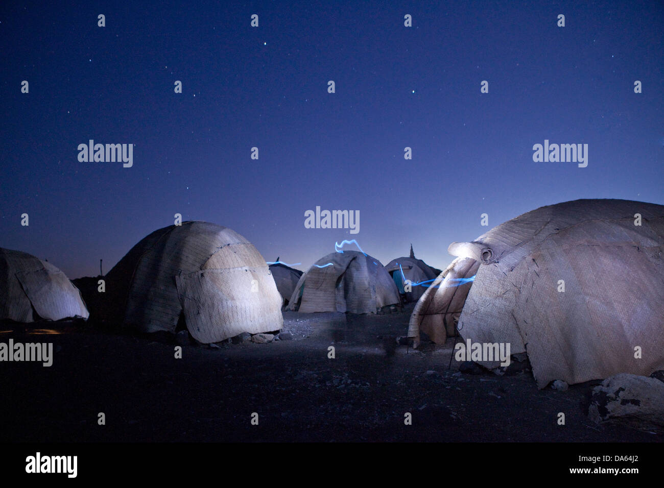 Afar, tent, Abbesee, Djibouti, Africa, agriculture, tourism, holidays, night, - Stock Image