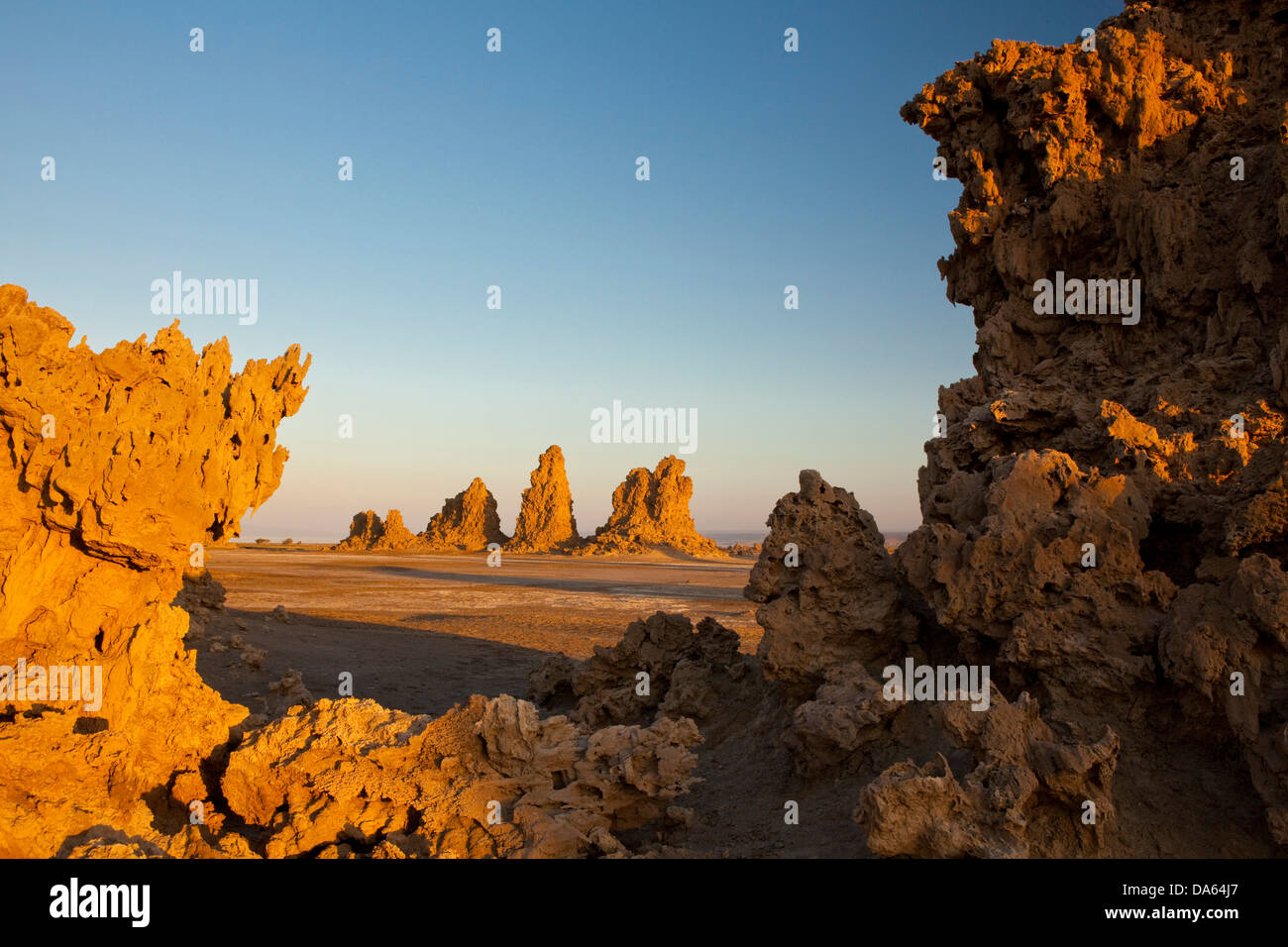 Lime chimneys, rocks, cliffs, cliff formation, rock, Abbesee, Djibouti, Africa, mountain, mountains, scenery, landscape, - Stock Image