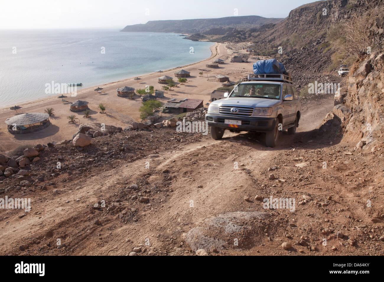 Sable Blanc, Dajoura, Red Sea, Africa, tourism, Djibouti, coast, cross-country, vehicle, car, automobile, - Stock Image