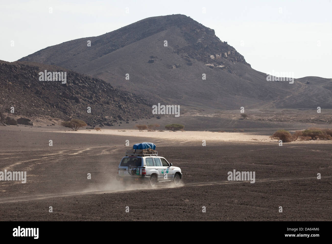 Expedition, vehicle, vessel, car, automobile, cross-country, vehicle, volcanic, area, Africa, Djibouti, - Stock Image