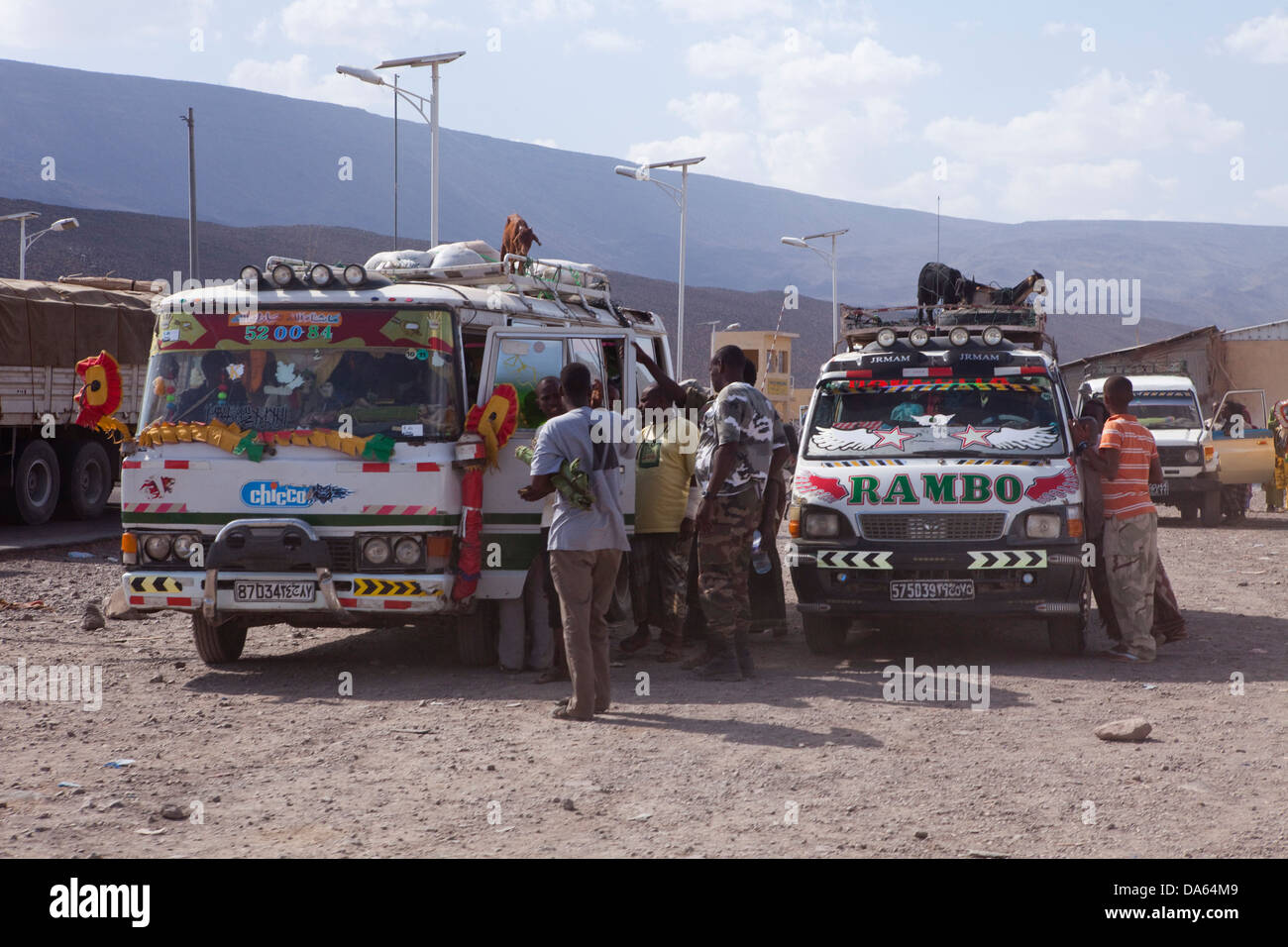 Cars, Automobiles, inches, Djibouti, Galifi, Danakil, Africa, expedition, traffic, transport, Ethiopia, - Stock Image