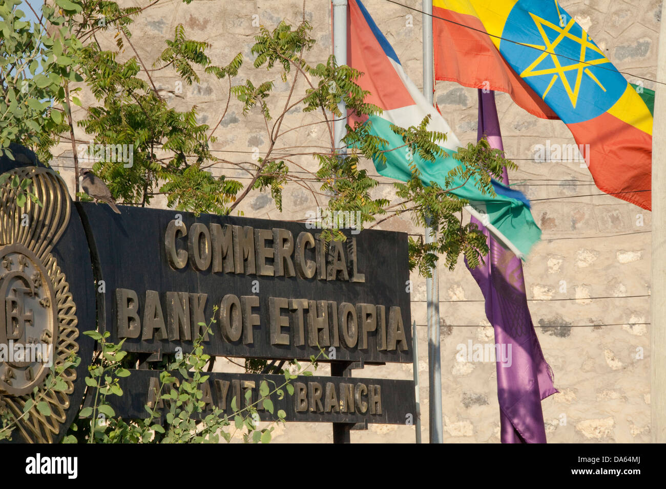 Afar, Asaita, Africa, town, city, sign, shield, flags, bank, Ethiopia, - Stock Image