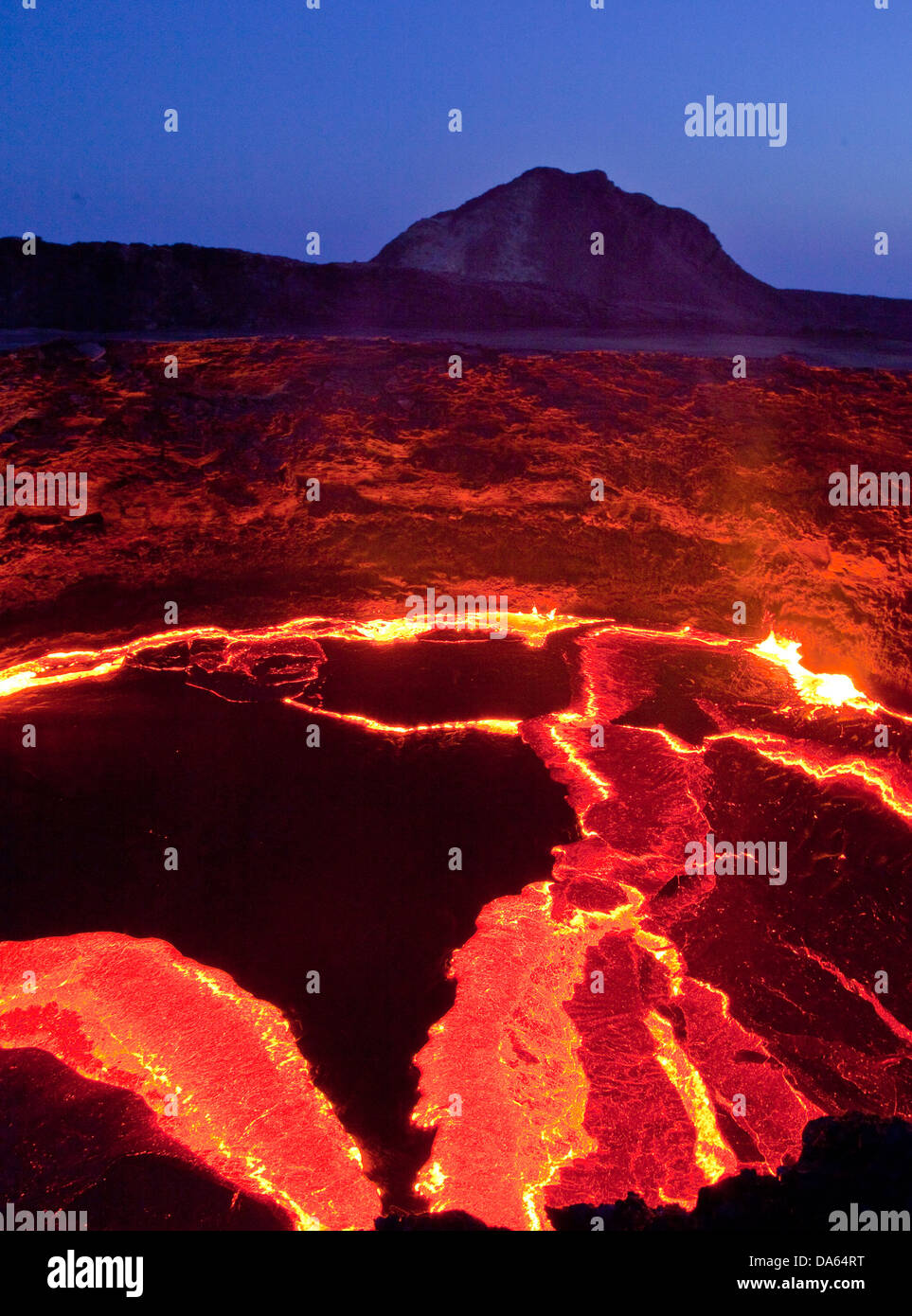 glow, smoulder, lava, eruption, Ertale, volcano, volcanical, Africa, mountain, mountains, fire, nature, Ethiopia, - Stock Image