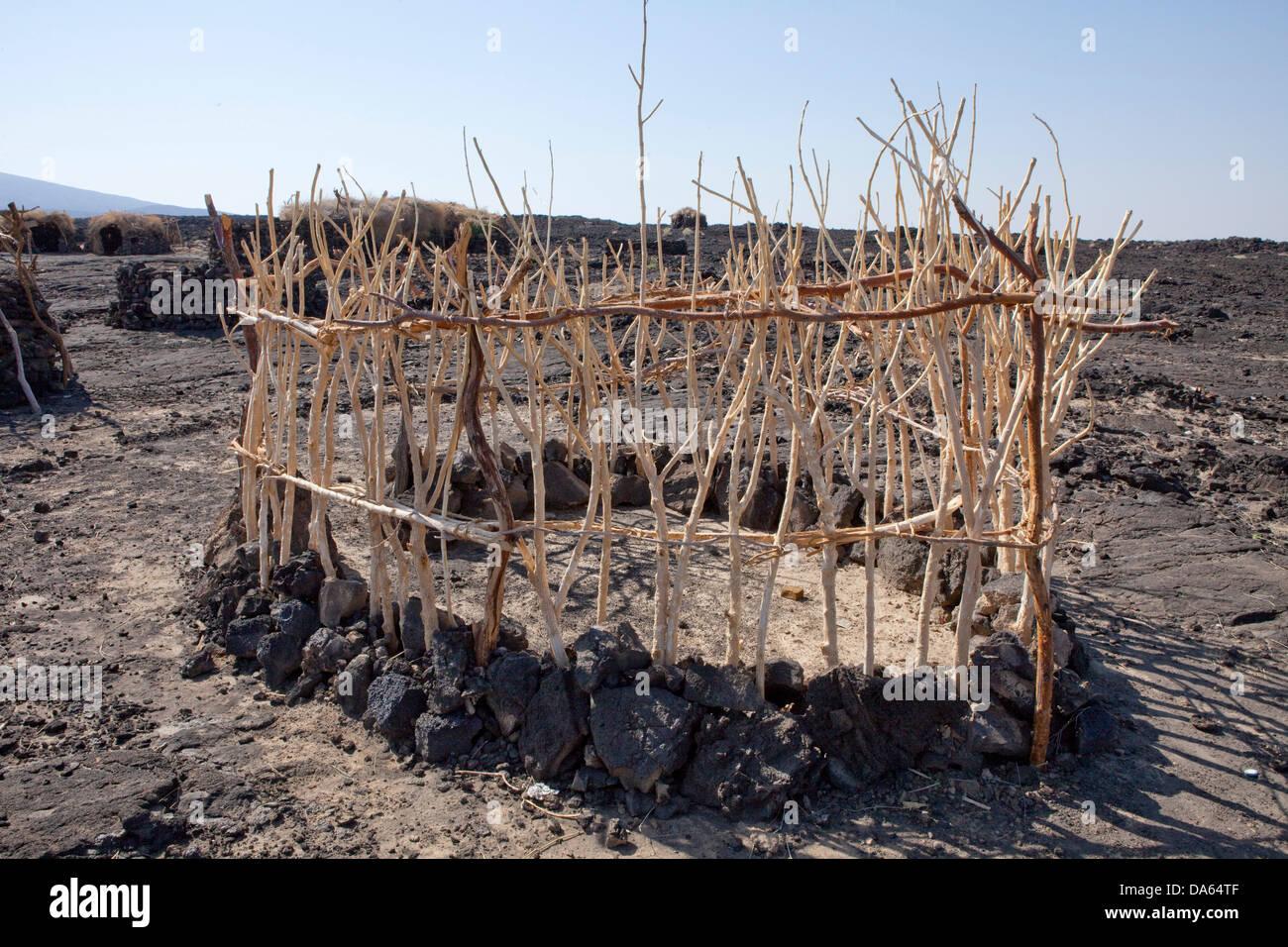 Building, house, hut, wooden hut, Danakil, Africa, Ethiopia, primitive - Stock Image