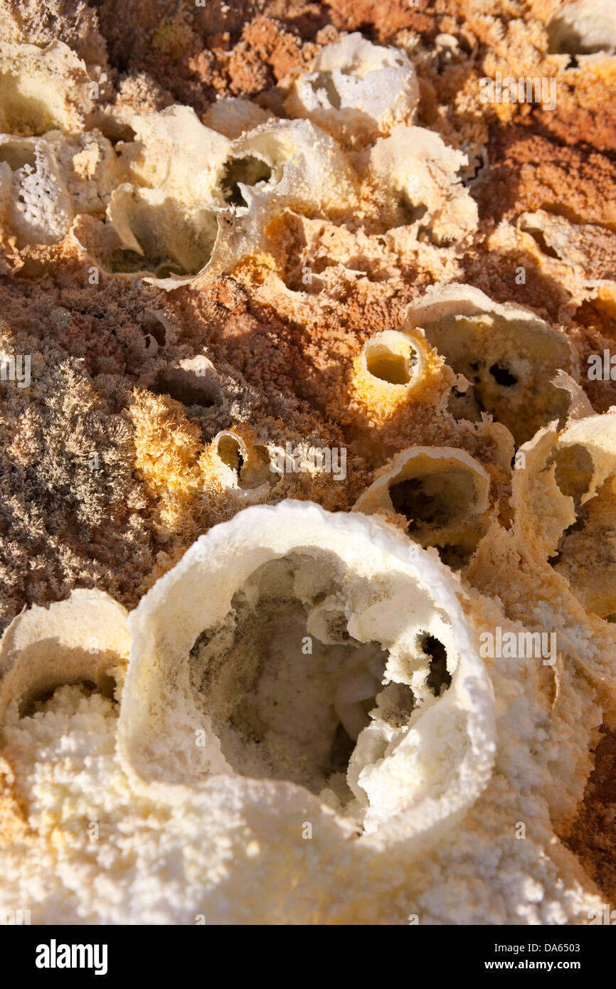 Sulphur terraces, Assale, Africa, nature, Ethiopia, sulphur, sulfur, mineral, scenery, landscape, geology - Stock Image