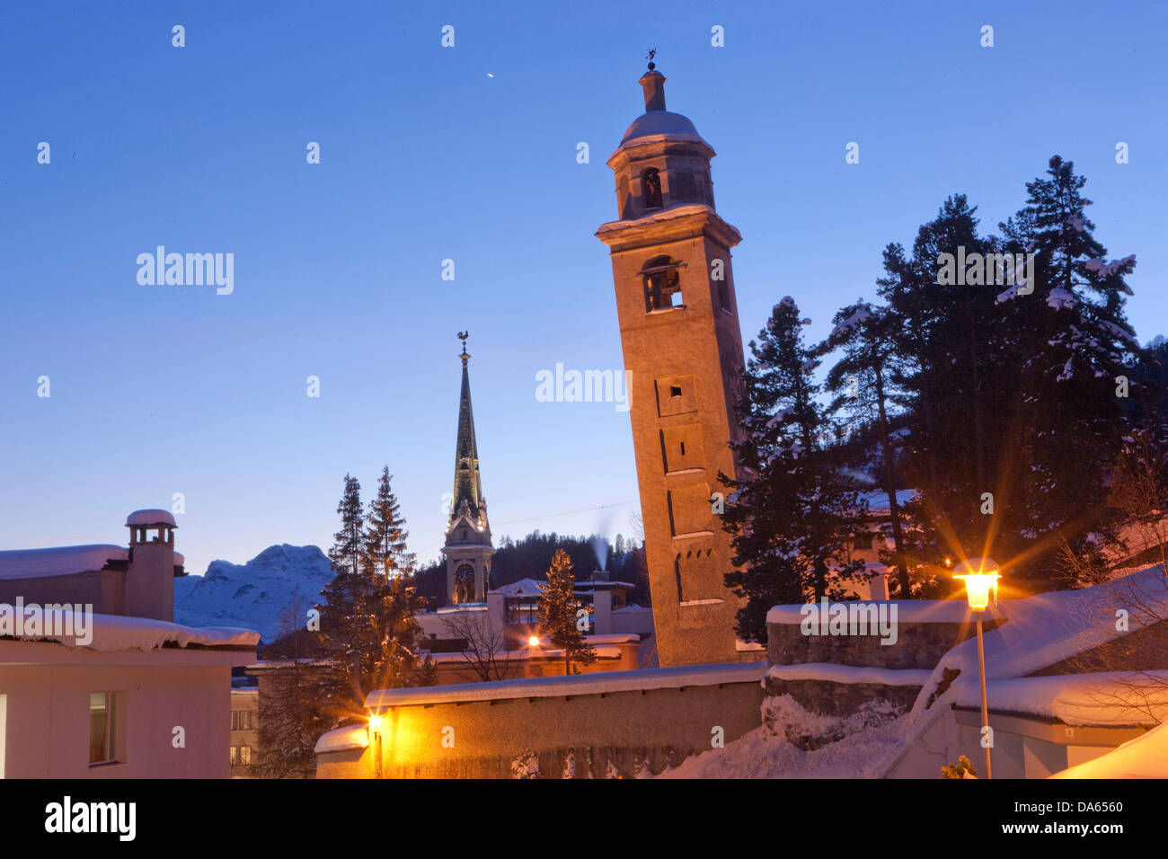 Saint Moritz, skew tower, rook, tower, church, religion, town, city, winter, canton, GR, Graubünden, Grisons, - Stock Image