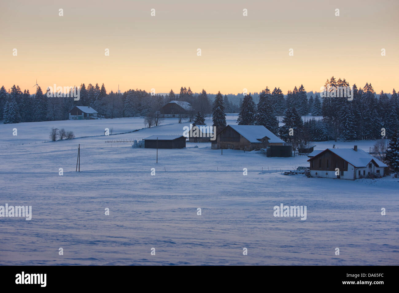 Morning mood, free mountains, farm, winter, snow, canton, JU, Jura, village, Switzerland, Europe, Les Bois - Stock Image