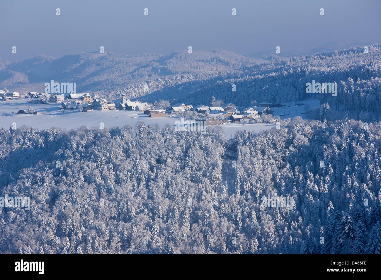 Winter mood, to free mountains, wood, forest, winter, snow, canton, JU, Jura, village, Switzerland, Europe, Saulcy - Stock Image