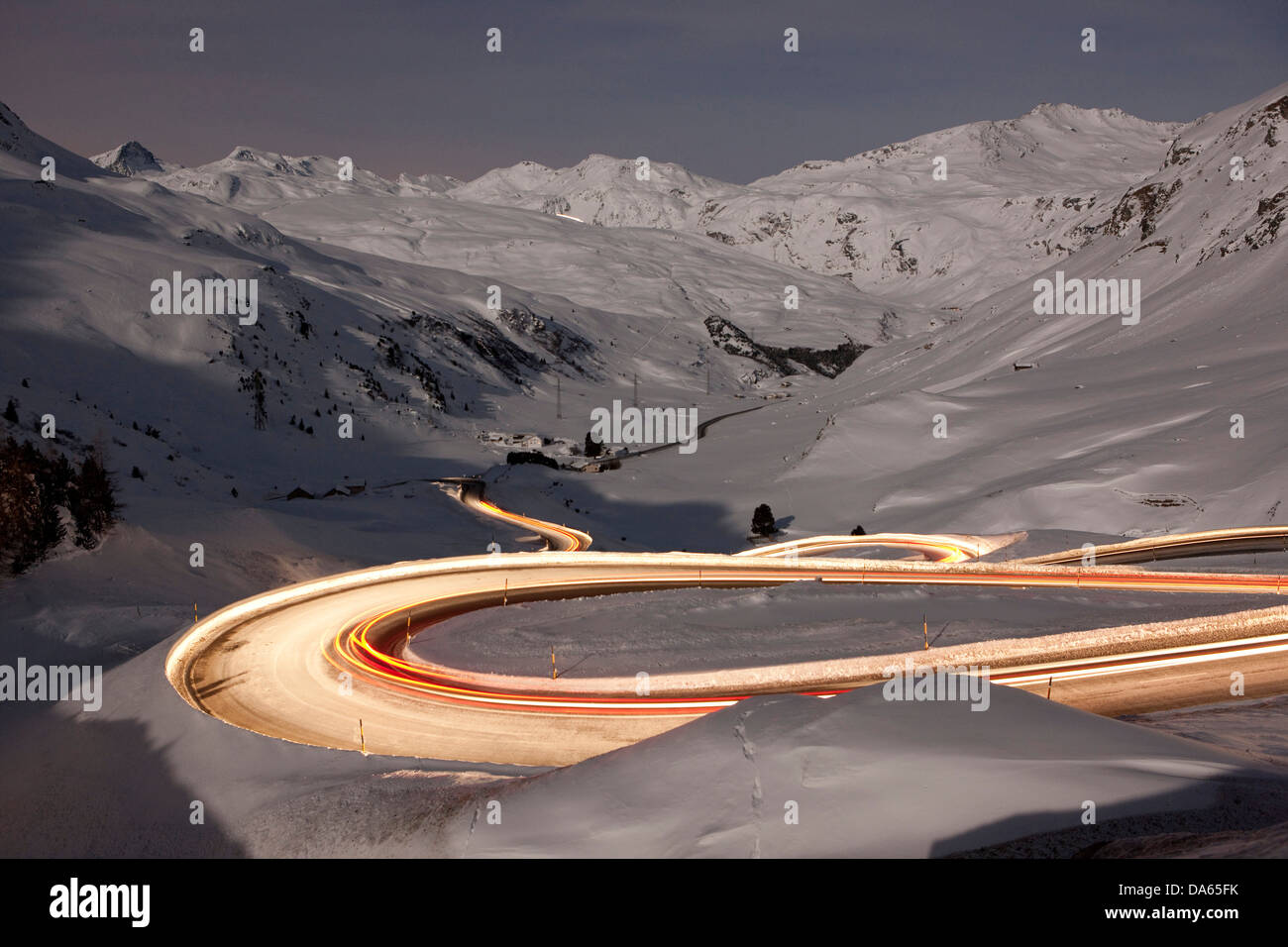 Julier, mountain pass, Pass, street, night, dark, traffic, transport, canton, GR, Graubünden, Grisons, Switzerland, - Stock Image