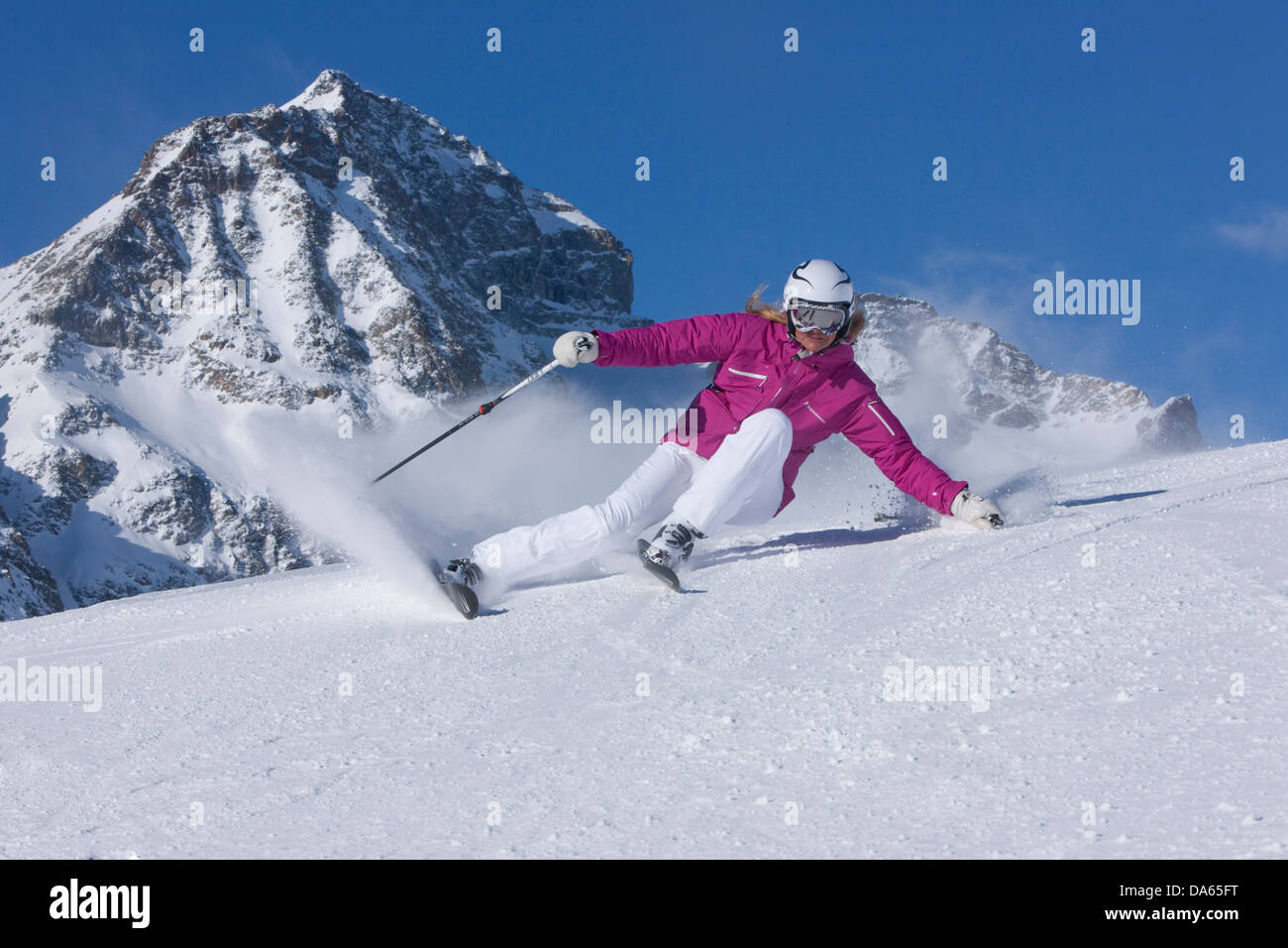 Skiing, winter sports, skiing area, Corviglia, ski, skiing, winter sports, Carving, winter, sport, spare time, leisure, - Stock Image