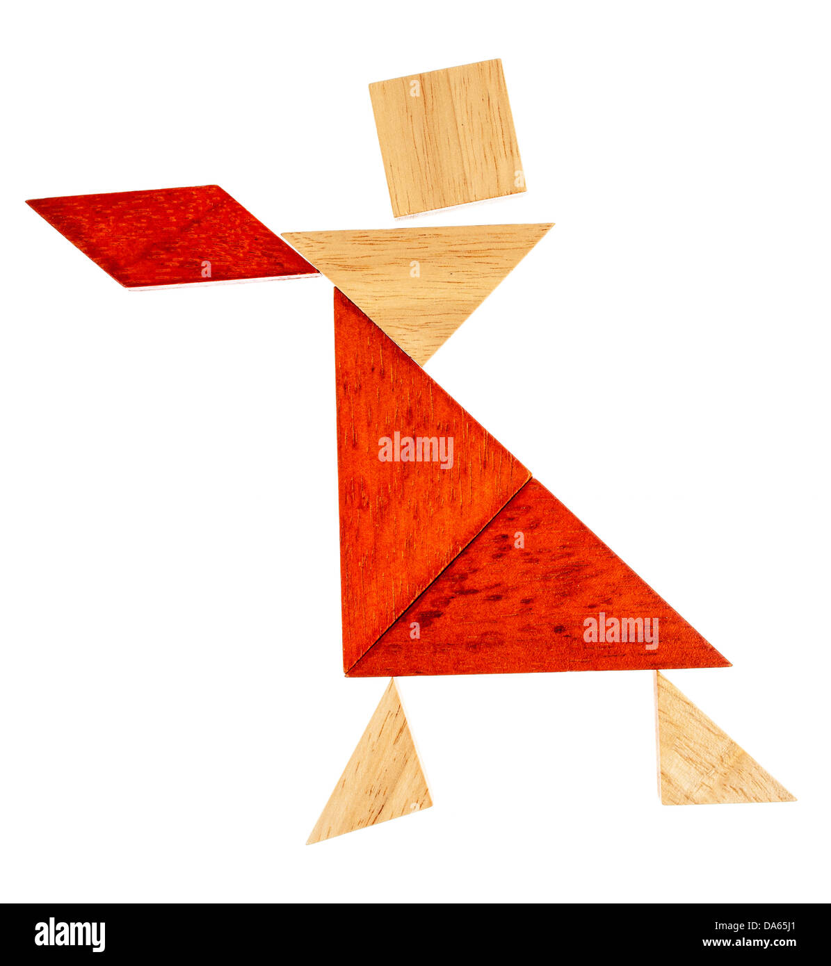 abstract figure of a female dancer or waitress built from seven tangram wooden pieces, a traditional Chinese puzzle - Stock Image