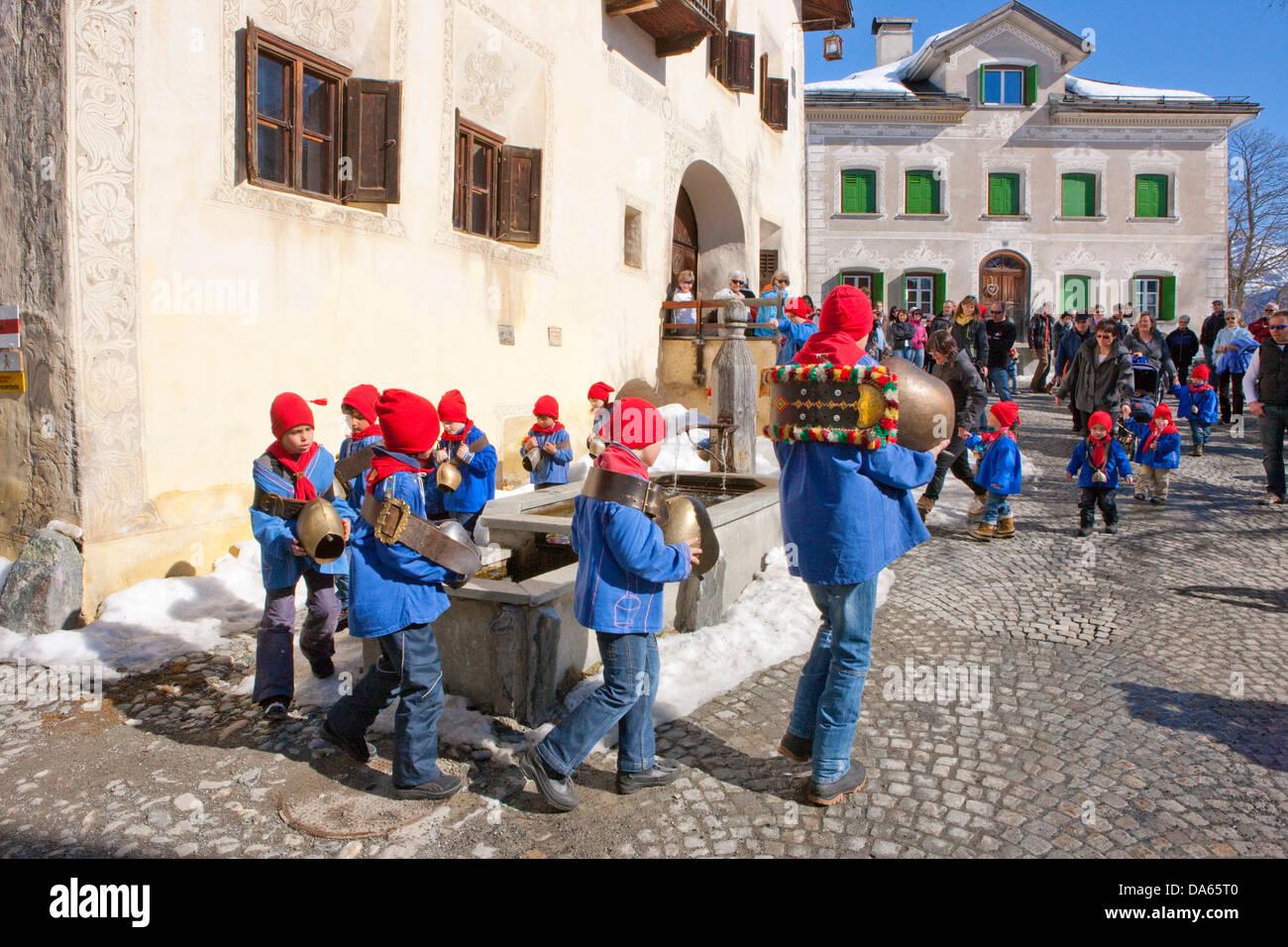 Chalandamarz, custom, Guarda, Unterengadin, tradition, folklore, national costumes, child, children, national costumes, - Stock Image