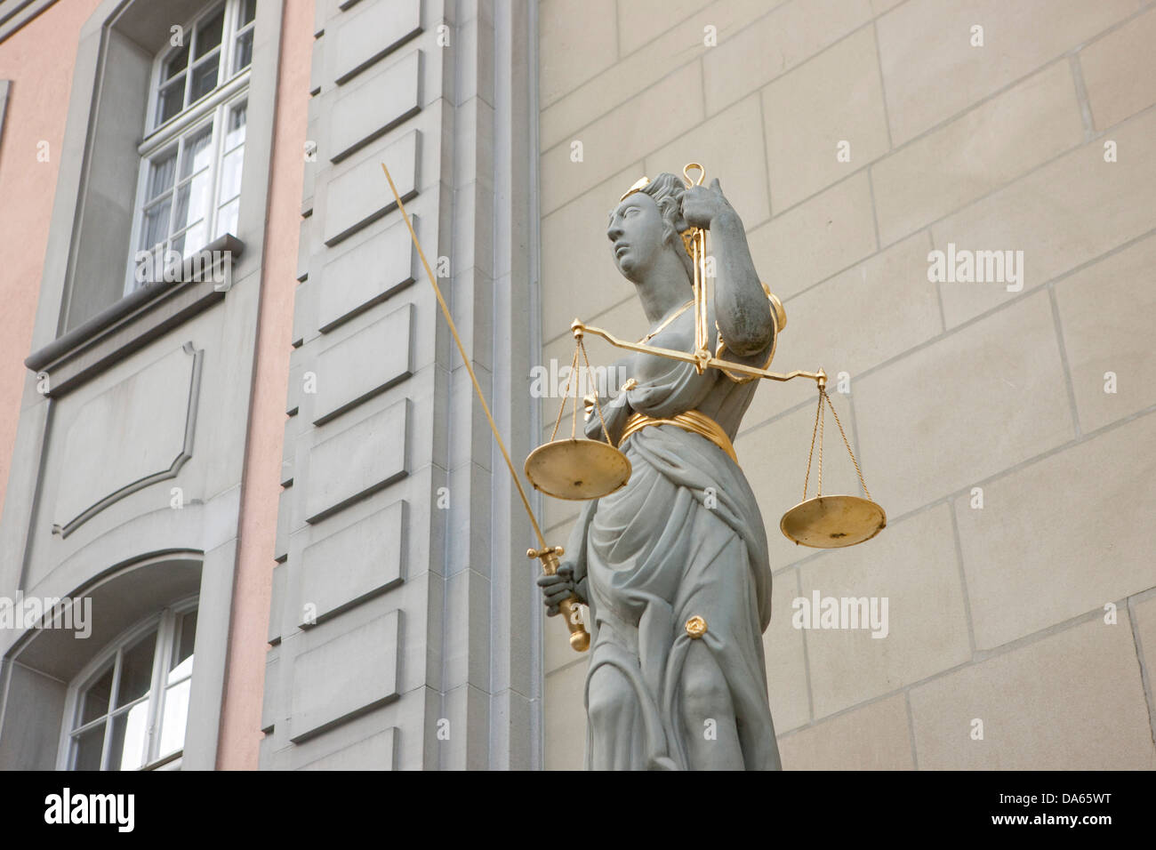 Justice, Zofingen, town, city, Kanton, AG, Aargau, justice, court, dish, Switzerland, Europe, law, - Stock Image