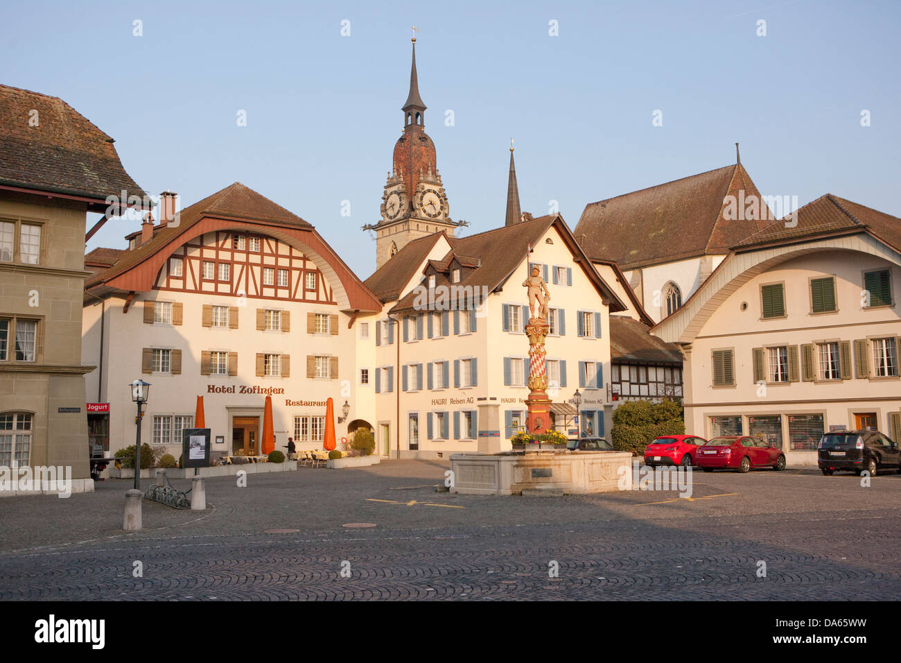 Zofingen, town, city, Kanton, AG, Aargau, Switzerland, Europe, place, well - Stock Image