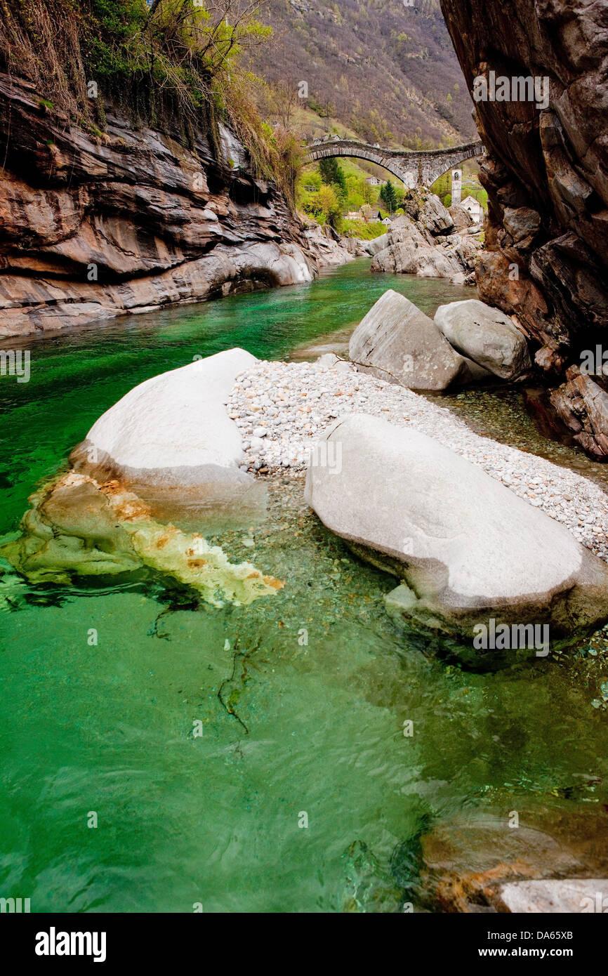 Stone bridge, Verzasca, Lavertezzo, bridge, river, flow, brook, body of water, water, canton, TI, Ticino, South - Stock Image