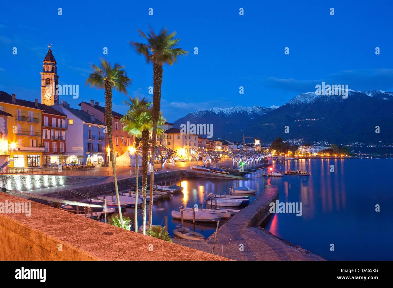 Ascona, at night, canton, TI, Ticino, South Switzerland, town, city, night, dark, Switzerland, Europe, lights - Stock Image
