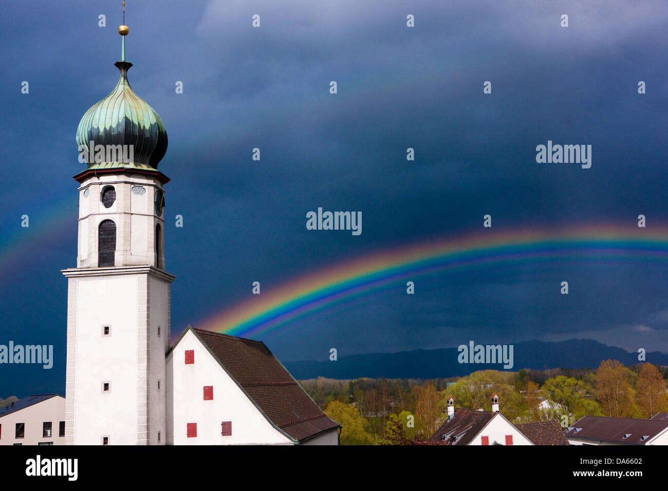 Protestant. reformed, church, Rheineck, rainbow, canton, SG, St. Gallen, weather, clouds, cloud, Switzerland, Europe, - Stock Image