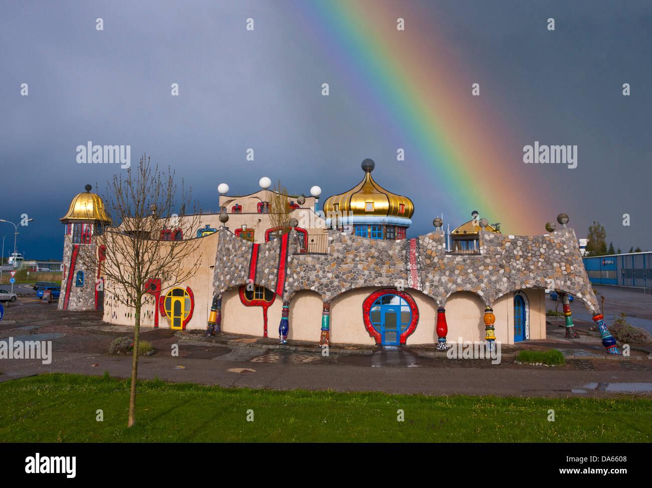 Hundertwasser, covered market, architecture, culture, canton, SG, St. Gallen, Switzerland, Europe, Altenrhein - Stock Image