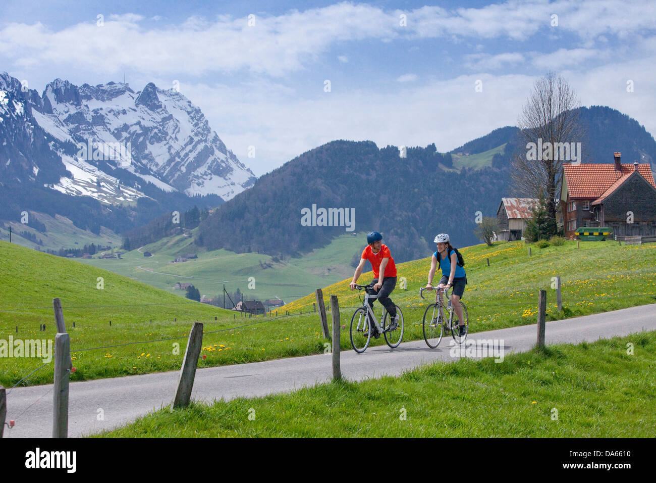 Bicycle tour, Appenzell area, canton, SG, St. Gallen, bicycle, bicycles, bike, riding a bicycle, Appenzell, Innerroden, Stock Photo