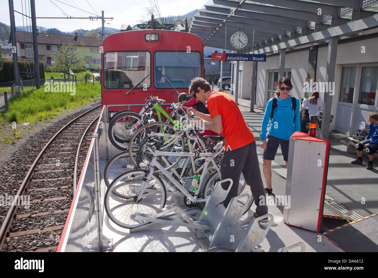 Veloverlad, old sites, road, railway, train, railroad, canton, SG, St. Gallen, bicycle, bicycles, bike, riding a - Stock Image