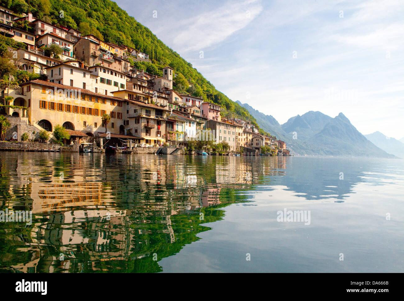 Gandria, canton, TI, Ticino, South Switzerland, water, lake, lakes, village, Switzerland, Europe, Lake Lugano, - Stock Image