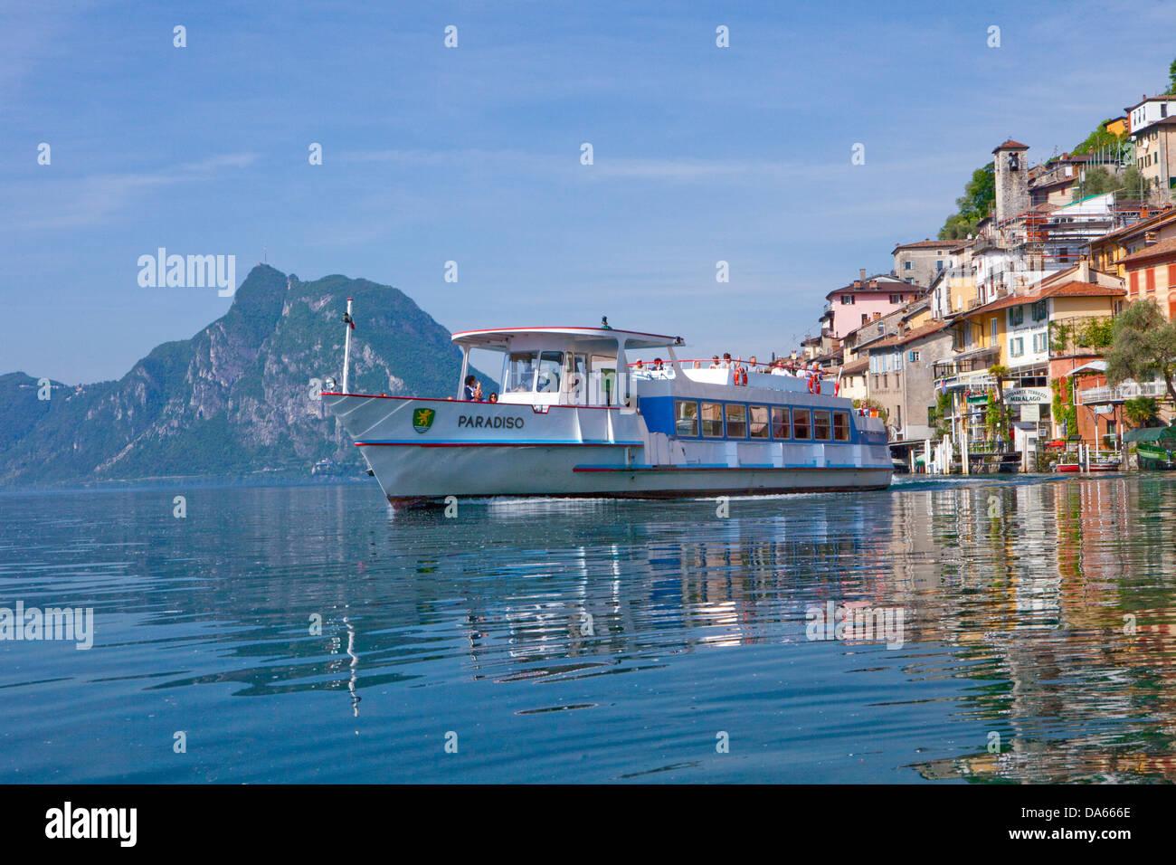 Ship, Gandria, canton, TI, Ticino, South Switzerland, water, lake, lakes, village, boat, ships, boats, Switzerland, - Stock Image