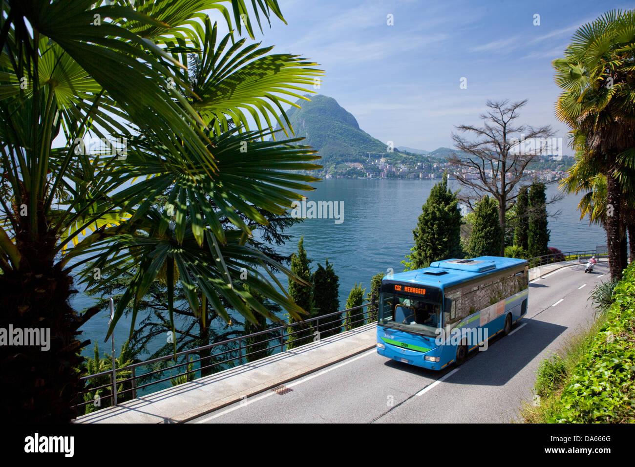 Lugano, canton, TI, Ticino, South Switzerland, town, city, lake, lakes, traffic, transport, Switzerland, Europe, - Stock Image