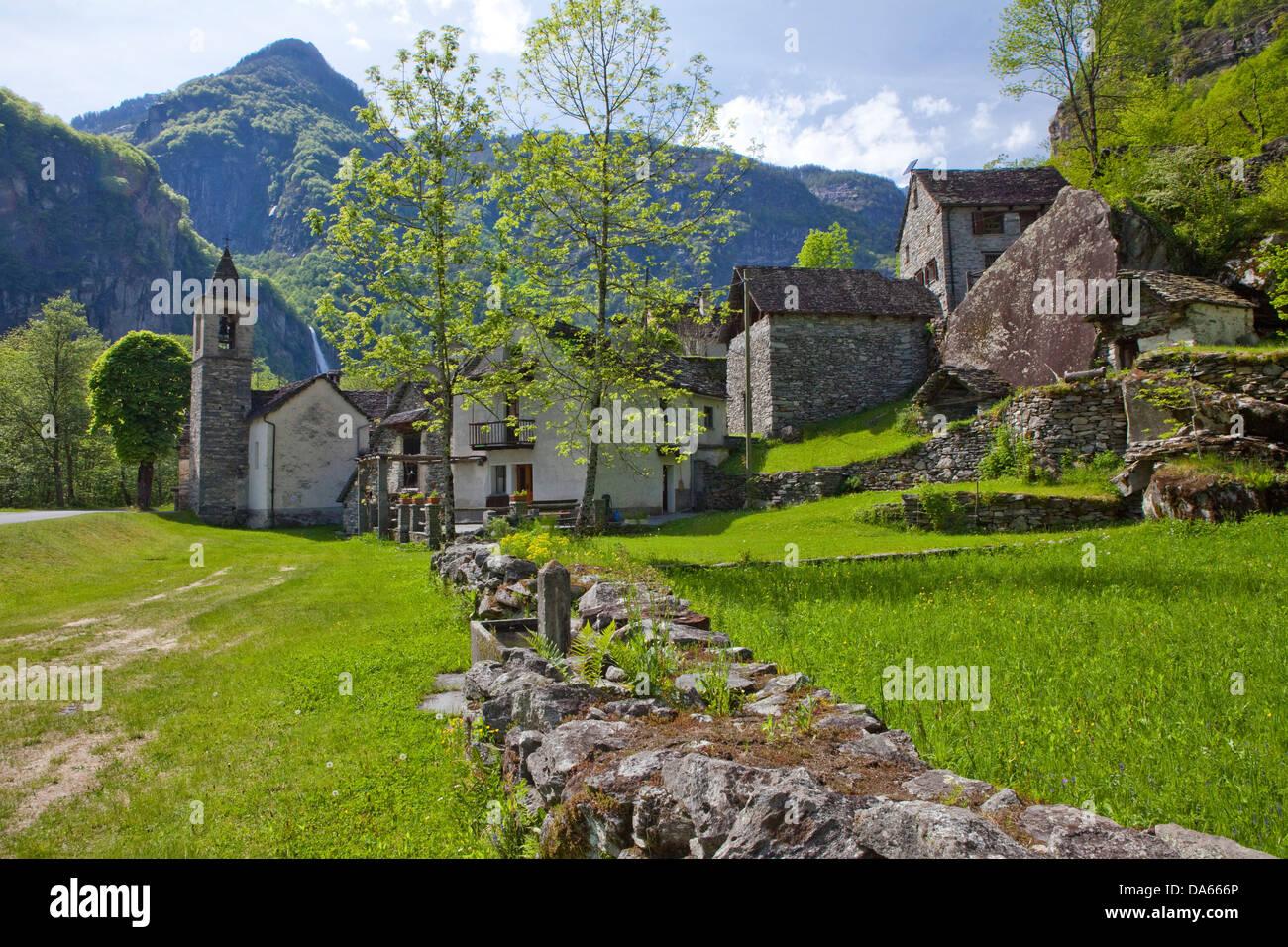 Village, Bavona valley, canton, TI, Ticino, South Switzerland, village, Switzerland, Europe, Ritorto, stone houses - Stock Image