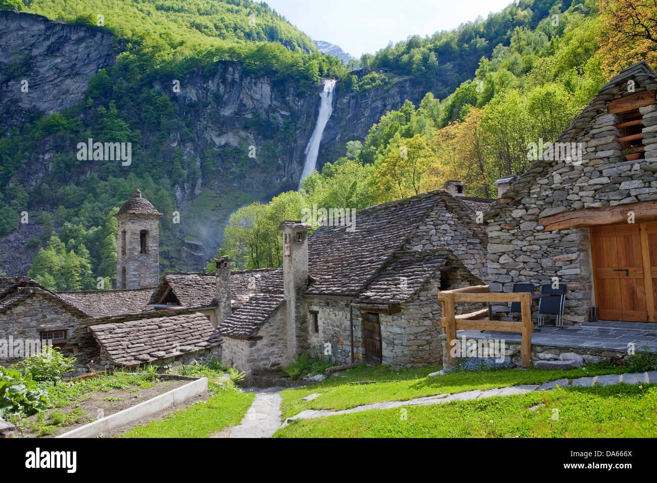 Foroglio, Bavona valley, canton, TI, Ticino, South Switzerland, village, Switzerland, Europe, stone houses - Stock Image