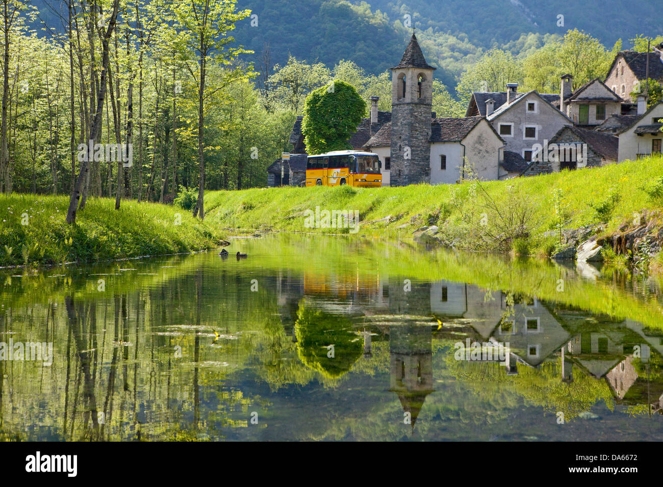 Postal car, Bavona valley, canton, TI, Ticino, South Switzerland, village, postal car, reflection, Switzerland, Stock Photo