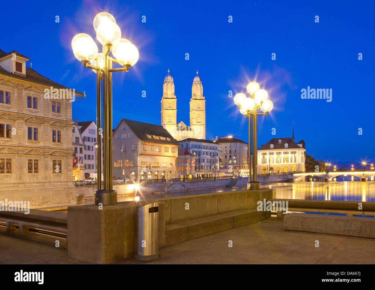 Zurich, Grossmünster, Limmat, river, flow, brook, body of water, water, building, construction, church, religion, - Stock Image