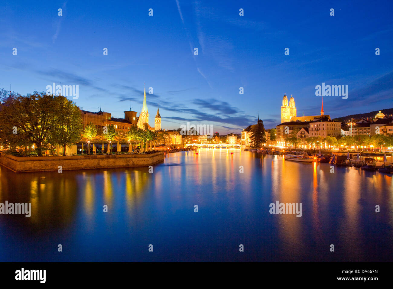Zurich, Grossmünster, Limmat, river, flow, brook, body of water, water, building, construction, churches, religion, - Stock Image