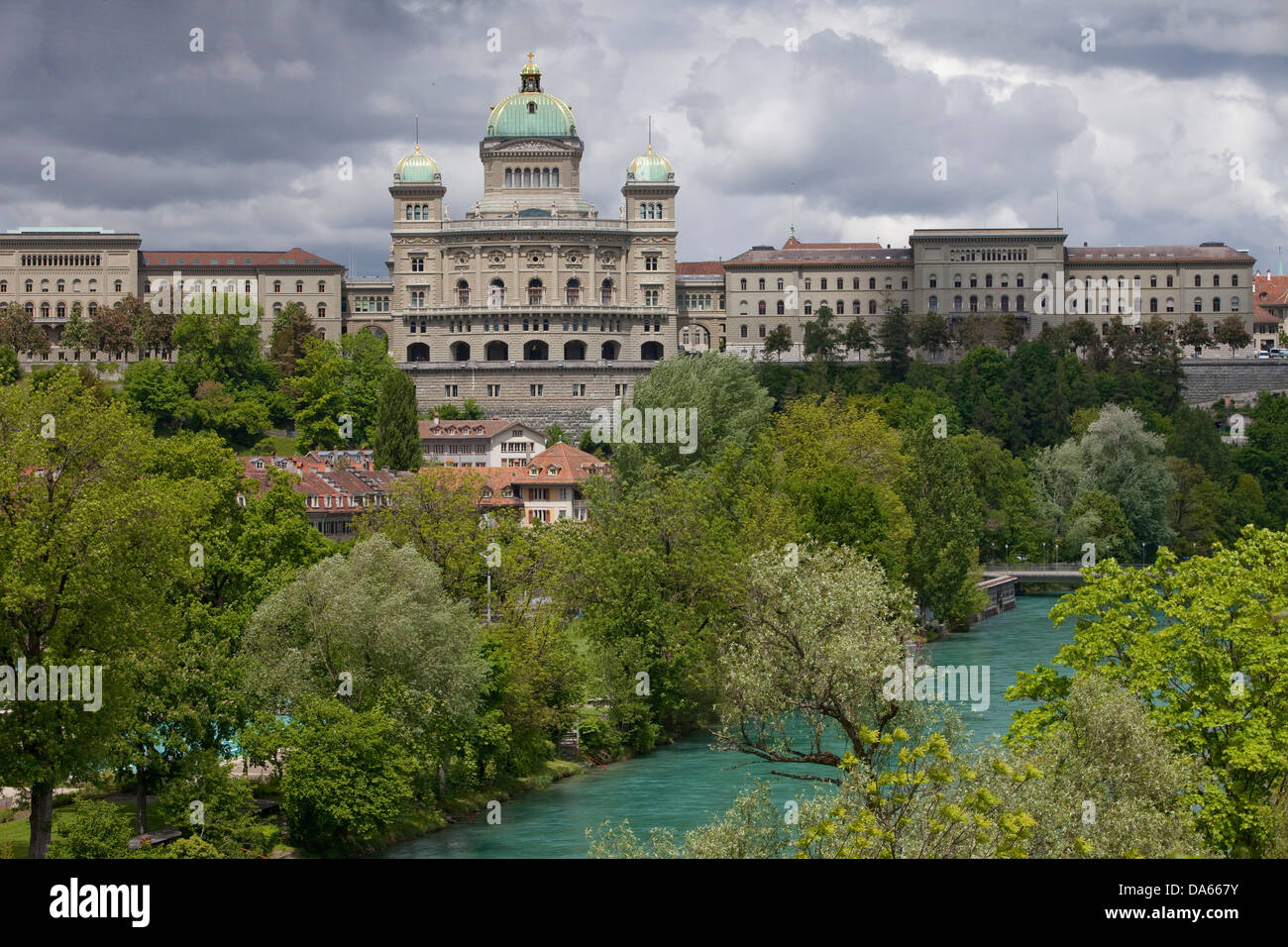 Federal Parliament, Aare, Bern, building, construction, weather, clouds, cloud, canton, Bern, Switzerland, Europe, - Stock Image