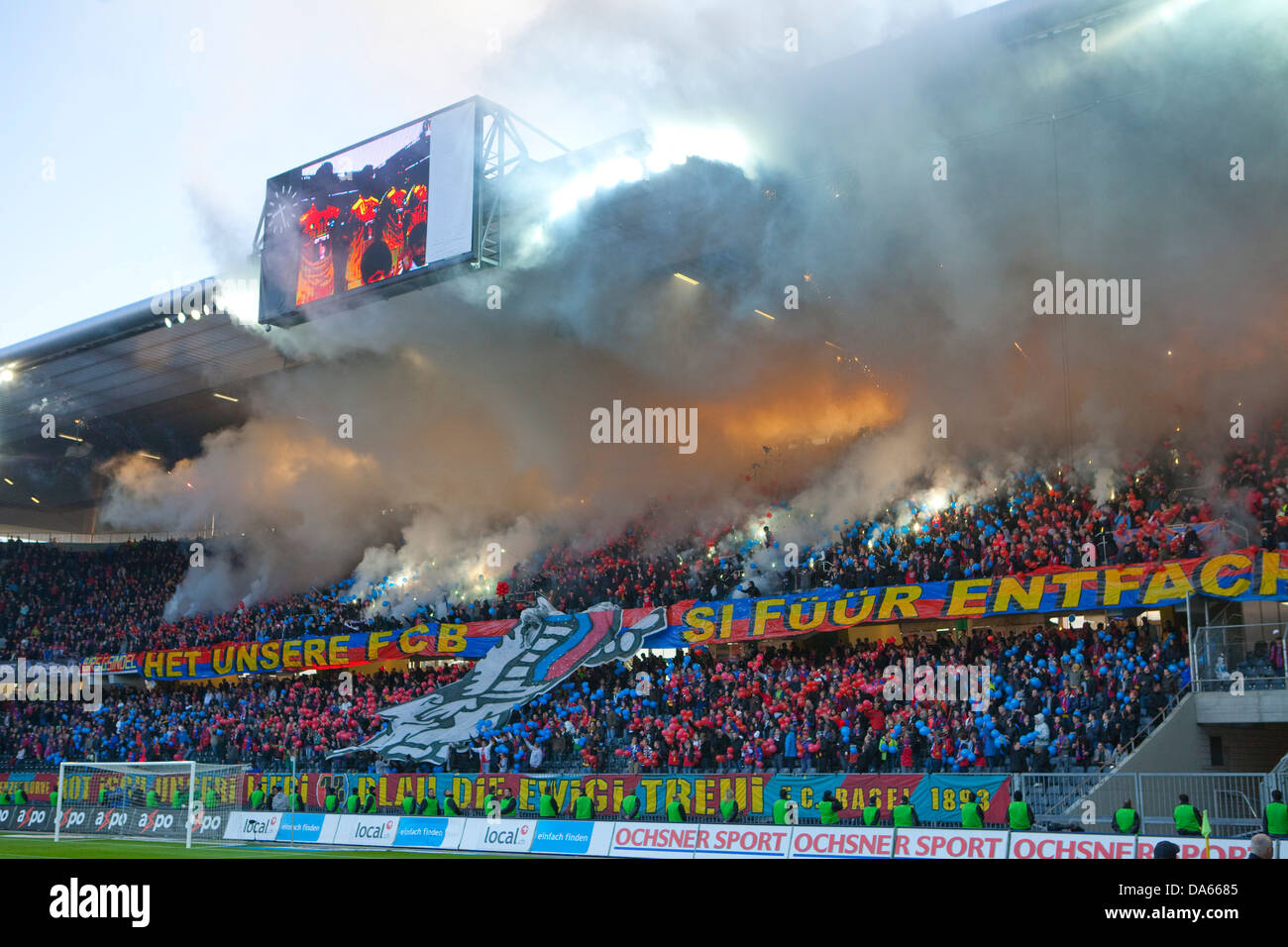 Fireworks, Stade de Suisse, stadium, Cup-final, canton, Bern, arrangement, football, soccer, spectator, smoke, fans, Stock Photo
