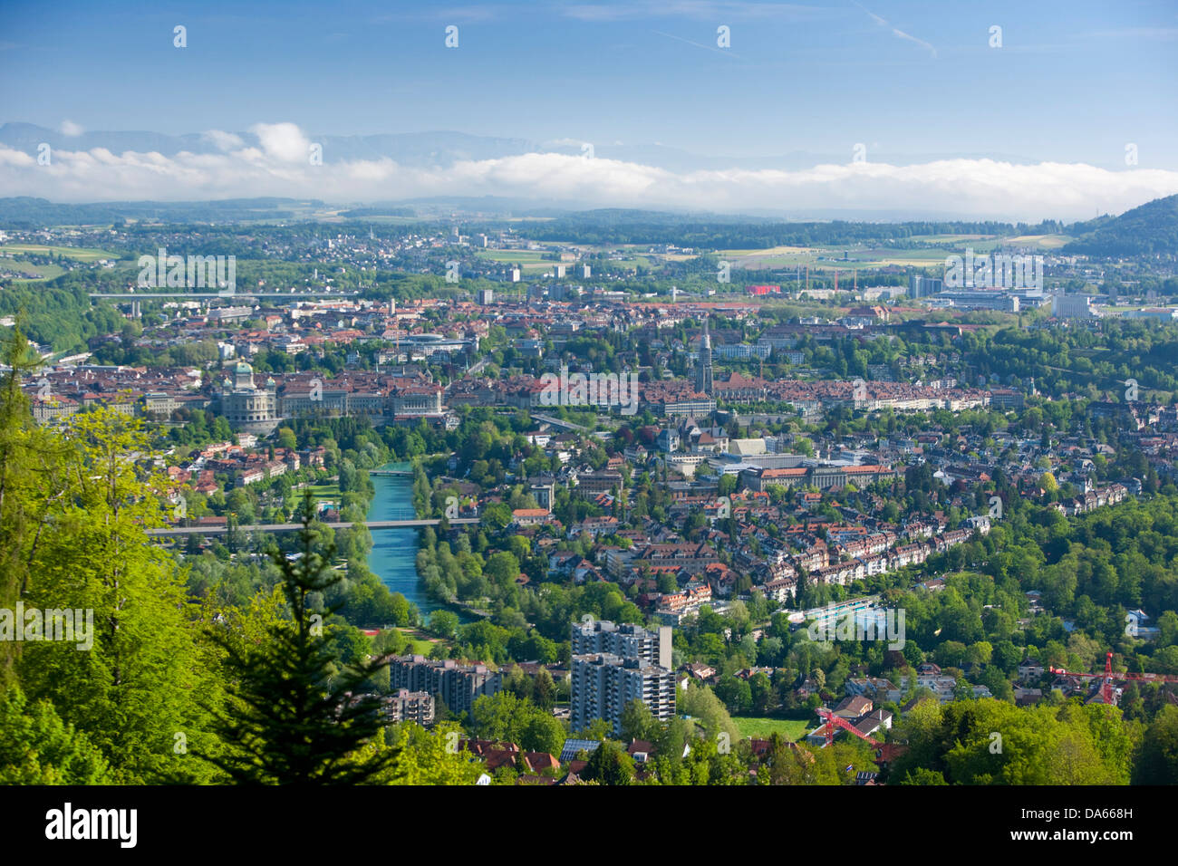 Town, City, Aare, canton, Bern, town, city, Switzerland, Europe, overview, Old Town - Stock Image