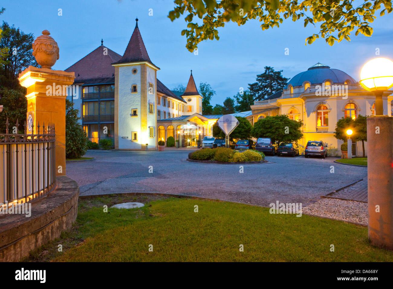 Grand Hotel, Bains, Yverdon, town, city, canton, VD, Vaud, West Switzerland, catering, restaurant, hotel, Switzerland, - Stock Image
